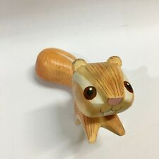 Squirrel sculpture wood carved home shelf ornament collectible hand carving