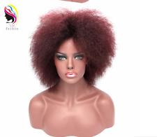 "12"" Afro Wig For Black Women Short Kinky Straight Hair Synthetic Auburn Full Wig"