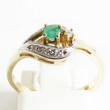 Ring Gold 585er Smaragd Diamanten 14 kt. Goldschmuck Edelsteine Bi-Color Damen