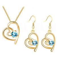 Gold Aqua Blue Hearts Jewellery Set Drop Dangle Earrings Pendant Necklace S849