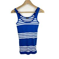 Theory Tank Top Size Medium Womens Blue White Stripe Sleeveless Scoop Neck Shirt