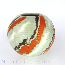 Art Déco Kugel Vase Keramik Uranglasur Streifen German Globe Pottery 1920s 1930s