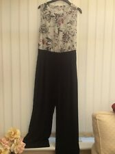 Jumpsuit all in one black trouser floral top size 12 xmas party eve