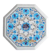 """12"""" White Marble Side Coffee Table Top Turquoise Floral Inlay Outdoor Decor W166"""