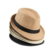 Unisex Fedora Trilby Hat Cap Straw Panama Style Packable Travel Sun Hat DF