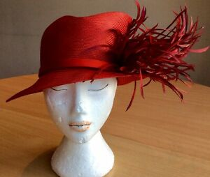 Philip Treacy Red Sinamay Hat With Asymmetric Crown