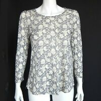 Lucky Brand Cool Grey Peasant Tunic Top Whimsical Floral Boho size Small / 20817