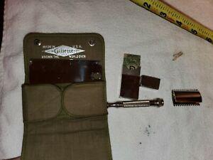 Gillette MILITARY Khaki Safety Razor Set, 1919 SNAP CASE.. EXCELLANT CONDITION