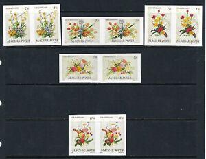 B&D: 1989 Hungary Scott 3173-3177 Flowers IMPERFORATE pairs MNH