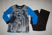 Boys L/S Flannel Pajamas Set Batman Blue Black Gray Gotham City Superhero Size 8