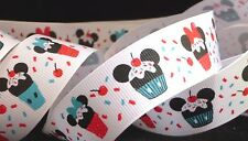 1 inch MICKEY MINNIE Mouse cupcake sprinkles ears head Disney grosgrain RIBBON
