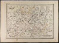 Landkarte Geografische 1846: Deutscher Centrale. Malte-Brun. Gravur Antik