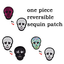 1pc Skull Head Reversible Sequins Sew On Patches DIY Applique Bag ClothingCoatHG