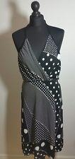 QED London Womens Wrap Midi Dress Size 46 48 Black Polka Dot Sleeveless Summer