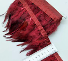 Burgundy Rooster Feather Fringe Ribbon Trim Tassel Price for 30cm DIY Craft