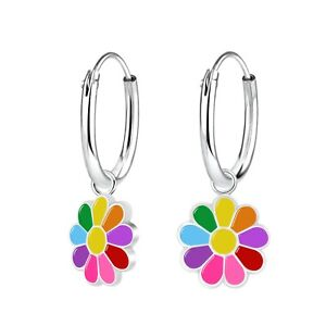 Jewellery Sterling Silver Girls Colourful Daisy Hoop Earrings Gift Boxed