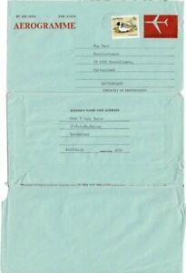 Aerogramme Australia 1979 usage 25c issue uprated 5c bird stamp to Switzerland