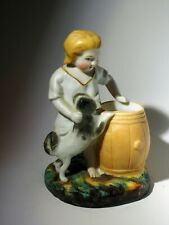 Antique Match Holder Girl boy w dog Border Collie Husky Spitz Karelian Bear dog