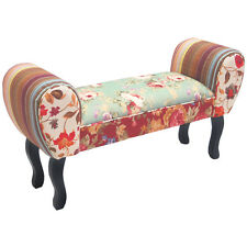 ROSES - Shabby Chic Chaise Pouffe Stool / Wood Legs - Multi-coloured OCH6008