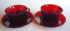 Ruby Red Cups & Saucers (2)