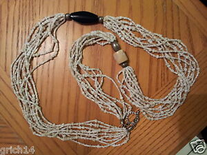 SILPADA LONG MULTI STRAND BAMBOO CORAL SEED BEAD BLACK PEN SHELL NECKLACE RARE