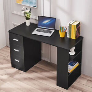 Black Computer Desk with 3 Drawer 3 Shelf Laptop  Office Study Writting Table