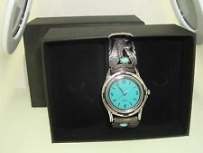 VINTAGE FOUR CORNERS STERLING & TURQUOISE WATCH CASE & TIPS ARTIST SIGNED! NOS!