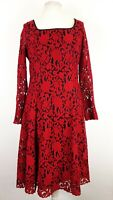 Next Tall Red Lace Dress Size UK 14 T Fit and Flare Evening Cocktail Xmas Party