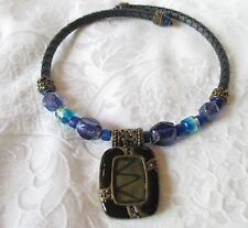 CHICOS IRIDESCENT PEACOCK COLOR PENDANT NECKLACE LEATHER CORD GLASS BEAD