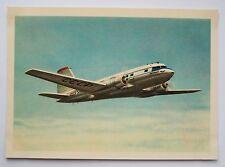 Passenger plane IL-14 aircraft Aeroflot  Soviet postcard Russian cards USSR 1960