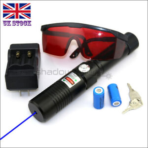 BX1-C 1MW 450nm Visible Blue Laser Pointer Lazer Pen &Battery&Charger&Goggles UK