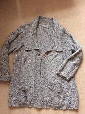 M&S Grey marl Per Una Cardigan medium knit low V neck one button size large