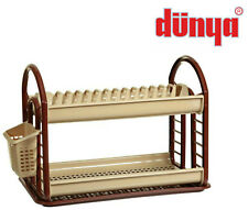 Brown Dunya Dish Drainer Two Tier 2 Cutlery Plates Bowls Holder Kitchen Rack New