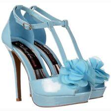 Womens Ladies High Heel Stiletto Platform PEEP Toe Wedding Shoe Blue Uk4