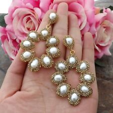 "GE101913 2.5"" White Pearl Golden Macarsite Earrings"