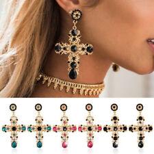 Women Crystal Vintage Baroque Style Luxury Cross Large Long Dangle Earrings TR
