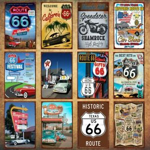 Man Cave Retro Metal Tin Signs Route 66 Poster Vintage Hanging Art Wall Decor