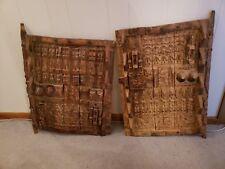 Old Antique African Art Wooden Dogon Granary Doors Sliding Latch