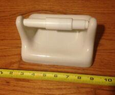 Vintage White Ceramic TP Toilet Paper Holder Mid Century Modern Retro