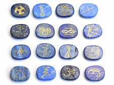 16 PIECES Lapis Lazuli Engraved Crystal Reiki KARUNA Magic Symbols Palm Stones
