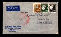 Germany June 6 1937 Flight Cover to Bolivia / SC# C54 - L17458