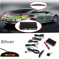 4 Parking Silver Sensors LED Display Car Reversing Backup Radar Alarming System