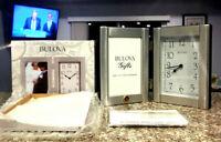 Bulova B1275 Hinged Brushed Aluminum Case Frame Clock 3.5 x 5 inch Free Shipping