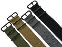 Nylon Uhrenarmband Schwarze Dornschließe 16-24mm Textil Armband Watch Strap Band