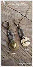 "NEW ""Forged Heart""Earrings -Artisan antique silver / bronze love- Handmade"