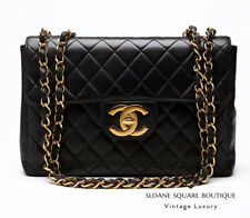 CHANEL BLACK BAG QUILTED LAMBSKIN  JUMBO CLASSIC SIMGLE FLAP GOLD HARDWARE GHW