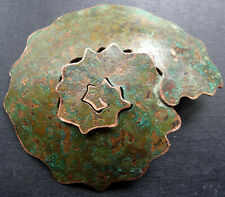 antique arts & crafts style patinated copper statement sculpture brooch pin R297