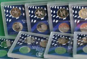 10 Sets 1999 thru 2008 50 State Quarters Acrylic Clad Proof 5 Quarters Per Set