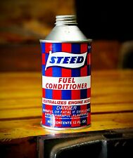 Vintage Steed Racing Flag Fuel Conditioner Can 12oz Advertising Car Oil Gas NOS