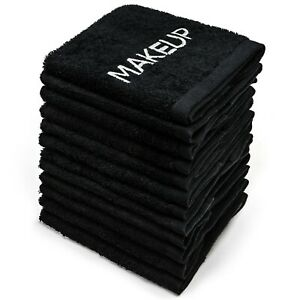 """Kaufman Makeup Removal 12Pk Black  Towels. Embroidery Towel.  Size 13""""x 13"""""""